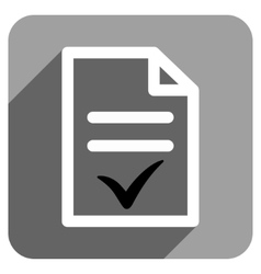 Valid document flat square icon with long shadow vector