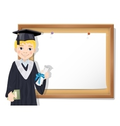 Graduate boy and cork board with paper vector