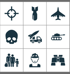 Army icons set collection of military panzer vector
