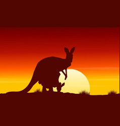At sunrise kangaroo scenery beauty landscape vector