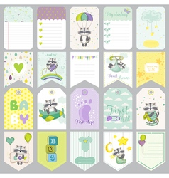Baby raccoon tags baby banners scrapbook labels vector