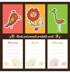 Birds and animals printable cards vector image vector image