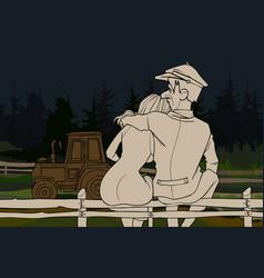 cartoon couple man and woman hugging sitting vector image