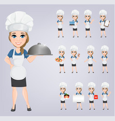 chef woman set cute cartoon character cook eps10 vector image vector image