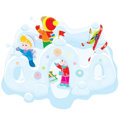 Children in a snow fort vector image
