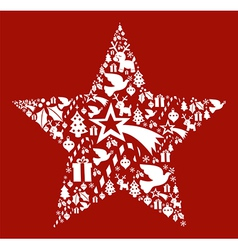Christmas icon set in star shape vector image vector image