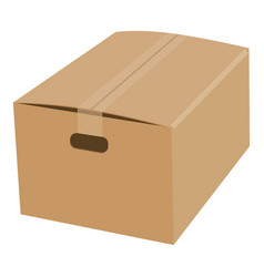 closed cardboard box taped up mockup vector image