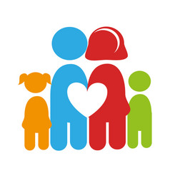 Color pictogram with family and heart among them vector