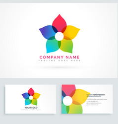 colorful flower logo design with business card vector image vector image