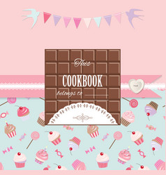 Cute template for girls can be used for scrapbook vector