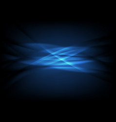 Dark blue neon glowing waves abstract background vector