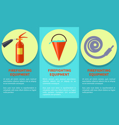 Emergency equipment set for fire protection poster vector