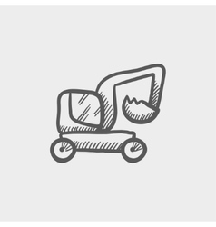 Excavator truck sketch icon vector image