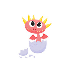 Flat dragon baby hatching from egg vector
