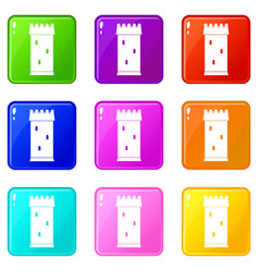 Fortress tower icons 9 set vector