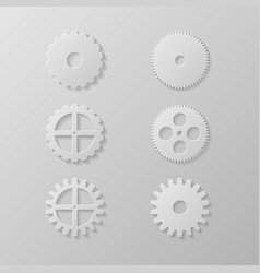 Gear icons set on a grey background vector