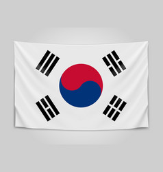 Hanging flag of korea republic of korea national vector
