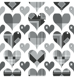 Hearts seamless pattern black and white with grey vector image vector image