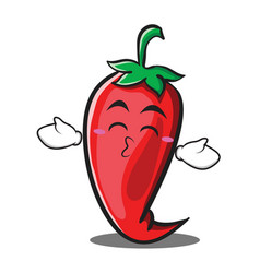 Kissing closed eyes red chili character cartoon vector