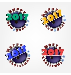 New Year 2017 and bowling ball vector image