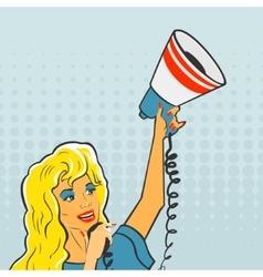 Pop Art Girl with a megaphone vector image
