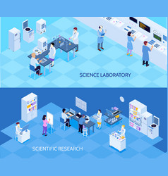 Science laboratory isometric banners vector