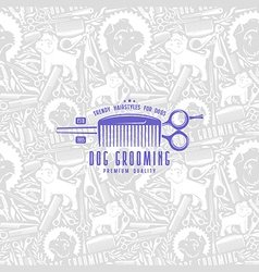 Seamless pattern and label dog grooming vector image