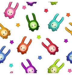 Seamless pattern with cartoon colorful aliens vector