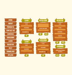 set of cartoon wooden signs vector image