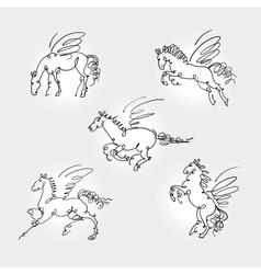 Set of pegasus vector