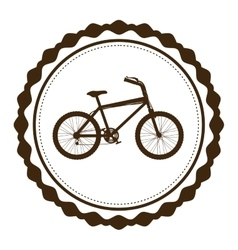 Silhouette brown of bicycle in round frame vector