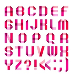 Spectral letters folded of paper ribbon-pink vector