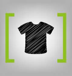 T-shirt sign black scribble icon in vector