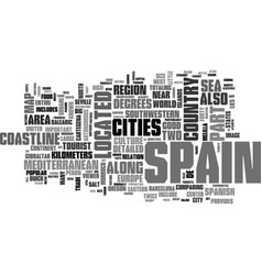 Where is spain on the map text word cloud concept vector