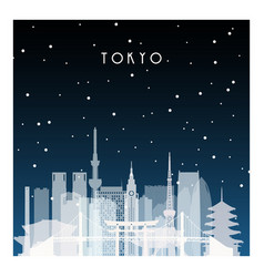 Winter night in tokyo night city in flat style vector