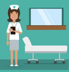 Woman nurse with medical prescription and vector