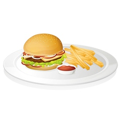 Burger french fries and sauce vector