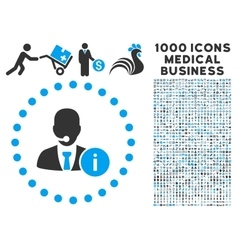 Help desk icon with 1000 medical business symbols vector