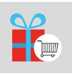 buying cart gift box design vector image