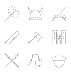 Medieval armor icons set outline style vector