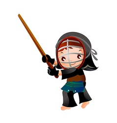 Portrait of a girl in kendo fencer vector