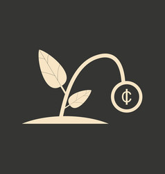 flat in black and white plant coin vector image