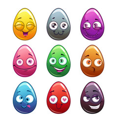 Comic cartoon colorful eggs characters vector