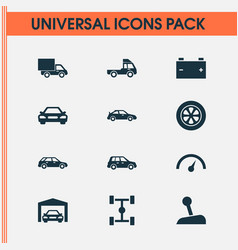 Auto icons set collection of chronometer van vector