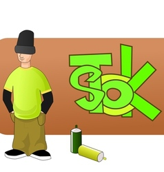 Young graffiti man vector