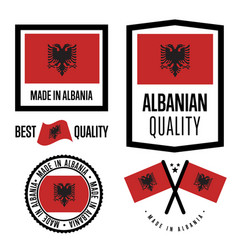 Albania quality label set for goods vector