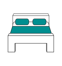 Color silhouette image matrimonial bed with cover vector