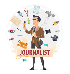 Colorful reporter round concept vector