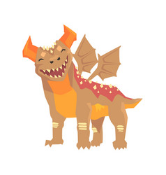 Horned dragon monster with wings mythical and vector