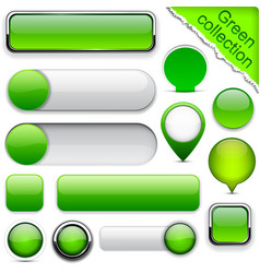 Green high-detailed modern buttons vector